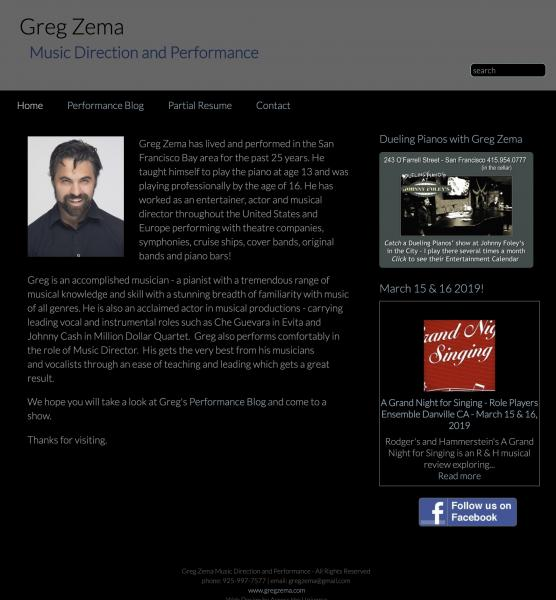 Greg Zema Website image  and link