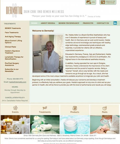 Dermatiq Spa Website image  and link