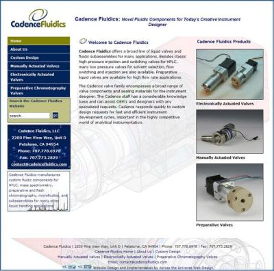 Cadence Fluiidics website image and link